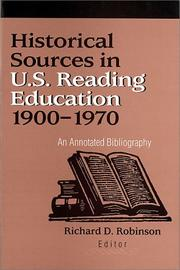 Cover of: Historical Sources in U.S. Reading Education 1900-1970
