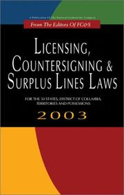 Cover of: Licensing, Countersigning & Surplus Lines Laws | Michael K. McCracken