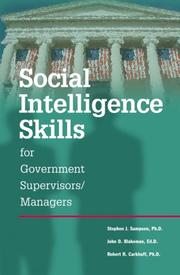 Cover of: Social Intelligence Skills for Government Managers