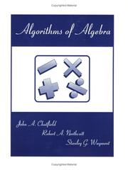 Cover of: Algorithms of Algebra | John A. Chatfield