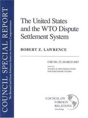 Cover of: The United States and the WTO Dispute Settlement System