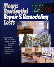 Cover of: Means Residential Repair and Remodeling Costs: Contractors Pricing Guide 2003 (Means Contractor