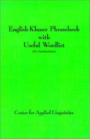 Cover of: English-Khmer Phrasebook with Useful Wordlist | Center for Applied Linguistics.