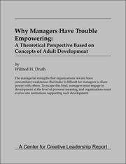 Cover of: Why Managers Have Trouble Empowering | W. Drath