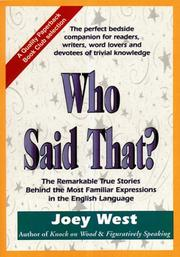 Cover of: Who Said That?