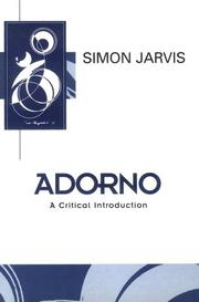 Cover of: Adorno | Simon Jarvis