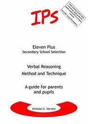 Cover of: Verbal Reasoning - Method and Technique (Eleven Plus Secondary School)