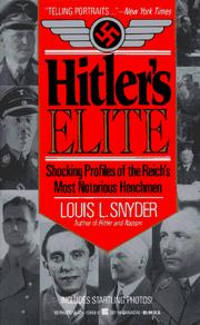 Cover of: Hitler's Elite