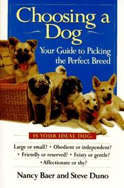 Cover of: Choosing a dog by Nancy Baer