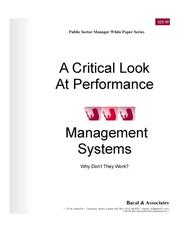 Cover of: A Critical Look At Performance Management Systems - Why Don't They Work?