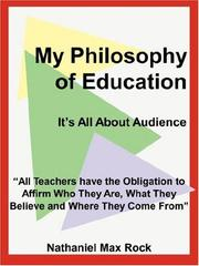 Cover of: My Philosophy of Education | Nathaniel, Max Rock