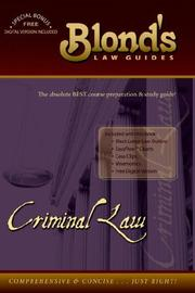 Cover of: Criminal Law (Blond