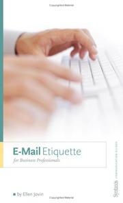 Cover of: E-Mail Etiquette for Business Professionals | Ellen Jovin