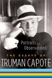 Cover of: Portraits and observations: the essays of Truman Capote.