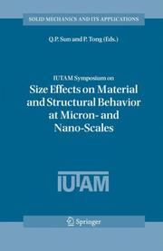 Cover of: IUTAM Symposium on Size Effects on Material and Structural Behavior at Micron- and Nano-Scales |