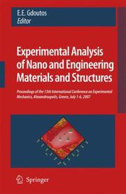 Cover of: Experimental Analysis of Nano and Engineering Materials and Structures
