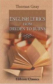 English Lyrics from Dryden to Burns
