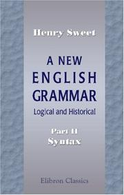 Cover of: A New English Grammar | Sweet, Henry