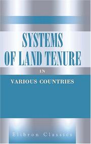Cover of: Systems of Land Tenure in Various Countries | Author unknown