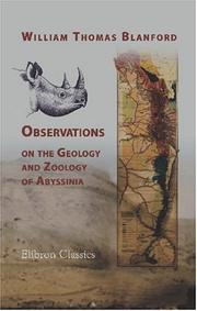 Cover of: Observations on the geology and zoology of Abyssinia