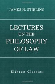 Cover of: Lectures on the philosophy of law