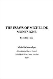 Cover of: The Essays of Montaigne, Book 3