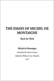 Cover of: The Essays of Montaigne, Book 3 (Essays of Montaigne)