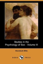 Cover of: Studies in the Psychology of Sex - Volume III