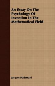Cover of: An essay on the psychology of invention in the mathematical field