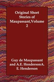 Cover of: Original Short Stories of Maupassant,Volume 2