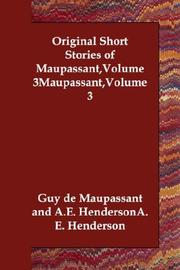 Cover of: Original Short Stories of Maupassant,Volume 3