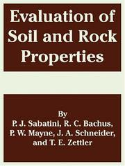 Cover of: Evaluation Of Soil And Rock Properties | P. J. Sabatini