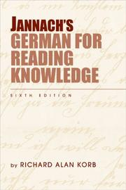 Cover of: Jannach's German for reading knowledge