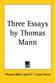 Cover of: Three Essays by Thomas Mann
