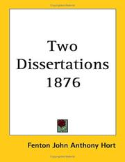 Cover of: Two Dissertations 1876