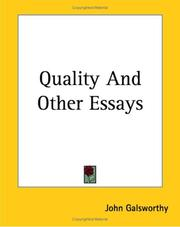 Cover of: Quality and Other Essays