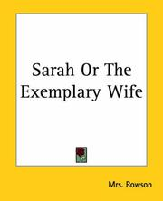 Cover of: Sarah Or The Exemplary Wife