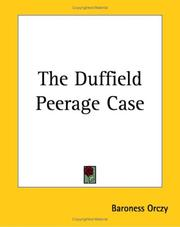 Cover of: The Duffield Peerage Case