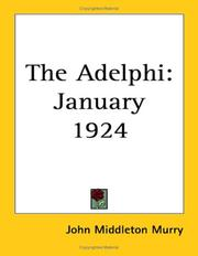Cover of: The Adelphi | John Middleton Murry