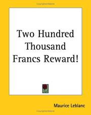 Cover of: Two Hundred Thousand Francs Reward!