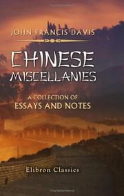 Cover of: Chinese Miscellanies | John Francis Davis