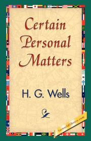 Cover of: Certain Personal Matters: A Collection Of Material, Mainly Autobiographical