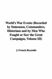 Cover of: World's War Events
