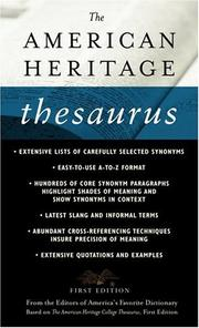Cover of: The American Heritage Thesaurus, First Edition