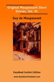 Cover of: Original Maupassant Short Stories, Vol. 10.