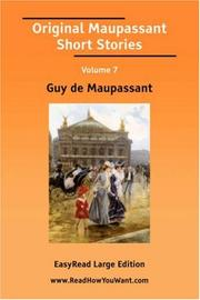 Cover of: Original Maupassant Short Stories Volume 7
