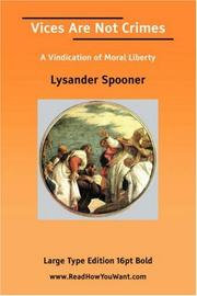 Cover of: Vices Are Not Crimes | Lysander Spooner