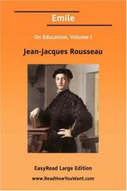 Cover of: Emile On Education, Volume I | Jean-Jacques Rousseau