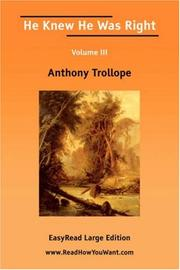 Cover of: He Knew He Was Right | Anthony Trollope