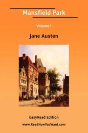 Cover of: Mansfield Park Volume I